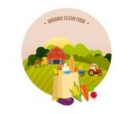 Organisches sauberes Lebensmittel, Bauernhof und Ackerland, das Dorf mit Gärten stock abbildung