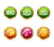 Organisches und Bioabzeichenset Stockbilder