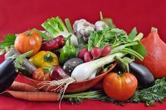 Organisches und gesundes Gemüse und ein roter Hintergrund Stockfoto
