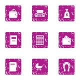 Organise icons set, grunge style. Organise icons set. Grunge set of 9 organise vector icons for web isolated on white background stock illustration