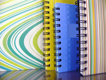 Organise your thoughts in a creative way. Rows of binded colourful organizers Royalty Free Stock Image