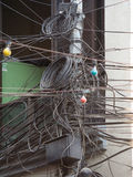 Organised Chaos. A mess of cabling in Kathmandu stock photography