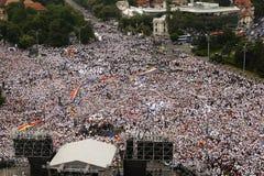 ORGANISEERDE DE BESLISSENDE PARTIJ VAN ROEMENIË ` S EEN PROTEST IN BOEKAREST royalty-vrije stock foto's