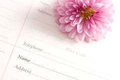 Organiser. With detailed information on the table Stock Photography