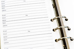 Organiser Address Page. Organiser lined address page close up Stock Image