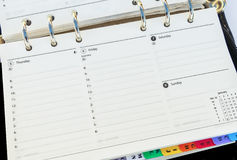 Organiser Diary Page. Organiser lined diary page close up Stock Photos