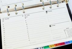 Organiser Diary Page Stock Photos