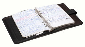 Organiser full of notes. Personal organiser isolated on white background Stock Images