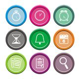 Organiser round icon sets. Suitable for user interface Stock Image