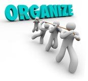 Organisera ordet som dras av Team Workers Union Working Together Royaltyfri Foto