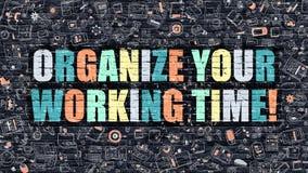 Organisez votre temps de travail sur le mur de briques foncé illustration de vecteur