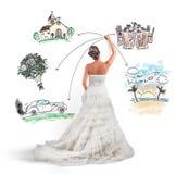 Organisieren einer Hochzeit Stockbild