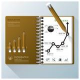 Organisieren Sie Notizbuch-Geschäft Infographic-Design-Schablone Stockfoto
