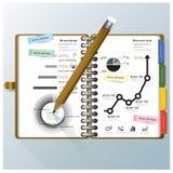 Organisieren Sie Notizbuch-Geschäft und Bildung Infographic-Design Temp Stockfotos