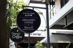 Organisk affisch för kaffeannonseringbräde arkivbilder