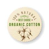 Organisk bomullsetikett stock illustrationer