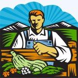 Organisk bonde Retro Farm Produce Harvest royaltyfri illustrationer