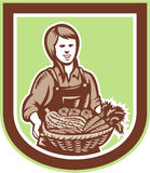 Organisk bonde Retro Farm Produce Harvest för kvinna vektor illustrationer
