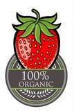 Organisk etikett för jordgubbe Royaltyfri Bild