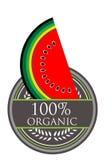 Organisk etikett för vattenmelon Arkivbild
