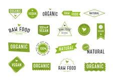 Organisk etikettuppsättning Olik logo för samling för organiska skönhetsmedel eller produkter royaltyfri illustrationer