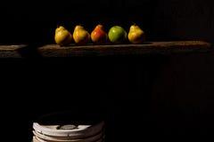 Organisk frukt på en träplanka Royaltyfria Bilder