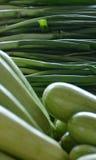 Organisk grön zucchinier och vårlök Arkivbilder