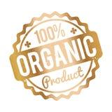 Organisk guld för rubber stämpel för produkt på en vit bakgrund Fotografering för Bildbyråer