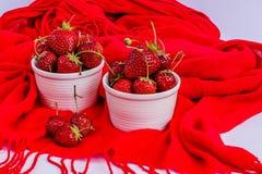 Organisk jordgubbe i vita porslinpoots Royaltyfri Fotografi