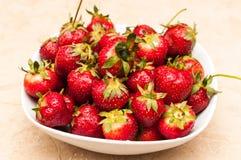 Organisk jordgubbefrukt bantar sommar Arkivfoto