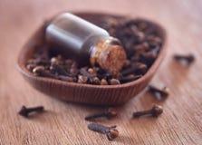 Organisk kryddnejlika med olja royaltyfri foto