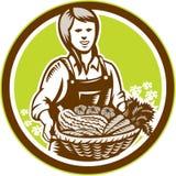Organisk kvinnlig bondeFarm Produce Harvest träsnitt stock illustrationer
