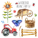 Organisk lantgård för vattenfärg stock illustrationer