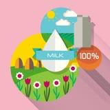 Organisk lantgård mjölka naturligt Plan stil Fotografering för Bildbyråer