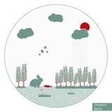 Organisk lantgårdillustration för vektor Royaltyfri Illustrationer