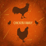 Organisk lantgårdtappningaffisch med familjhöna: hane höna med hönor Stock Illustrationer
