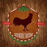 Organisk lantgårdtappningetikett med den fega hanen Stock Illustrationer