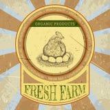 Organisk lantgårdtappningetikett med höna och ägg Vektor Illustrationer
