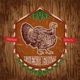 Organisk lantgårdtappningetikett med kalkon på grungebakgrunden Vektor Illustrationer