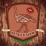 Organisk lantgårdtappningetikett med strutsen på grungebakgrunden Stock Illustrationer