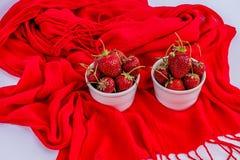 Organisk mogen jordgubbe i vita porslinpoots Arkivbild