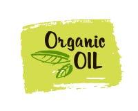 Organisk olje- hand dragen etikett isolerad illustration Naturlig skönhet, sund livsstil, ecobrunnsort, bio omsorgingrediens Orga vektor illustrationer