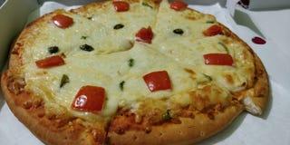 Organisk pizza med grönsaker och ost arkivfoto