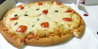 Organisk pizza med grönsaker och ost royaltyfri bild