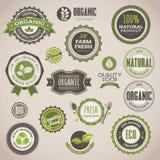 organisk set för emblemetiketter stock illustrationer