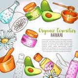 Organisk skönhetsmedelillustration Hand drog brunnsort- och aromatherapybeståndsdelar Tecknade filmen skissar av den naturliga sk stock illustrationer