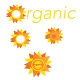 Organisk sollogo eller etikett Arkivbilder