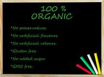 100% organisk text på svart tavla Royaltyfria Foton