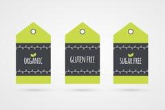 Organisk uppsättning för glutenSugar Free etikett Vektormatsymboler Royaltyfria Foton