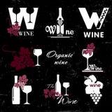 Organisk vinlogo stock illustrationer